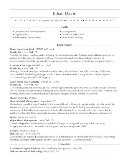 Guest Experience Lead resume template New Jersey
