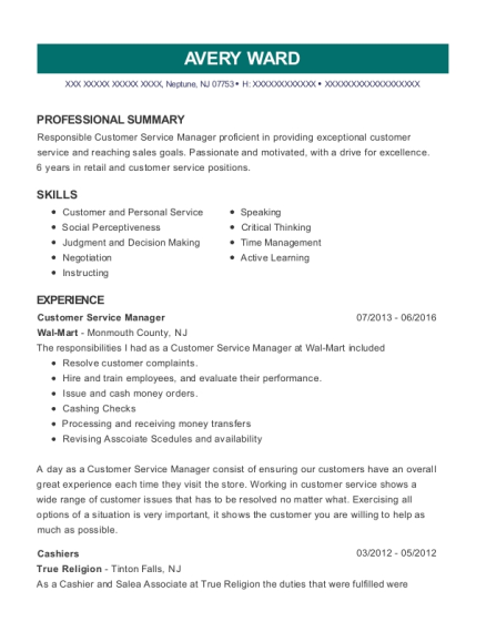 Customer Service Manager resume format New Jersey