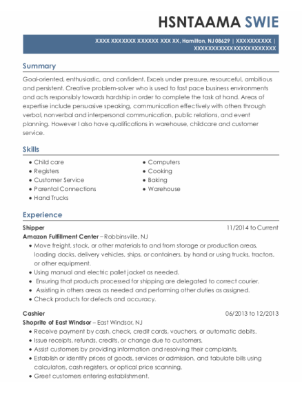 Shipper resume sample New Jersey