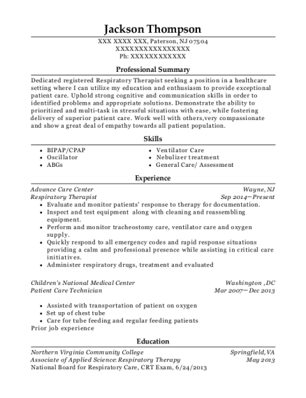 Respiratory Therapist resume template New Jersey