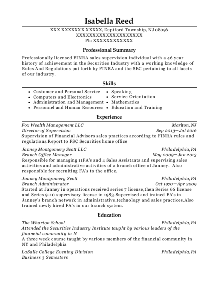 Director of Supervision resume sample New Jersey