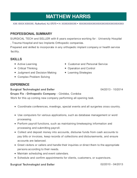 Surgical Technologist and Seller resume sample New Jersey