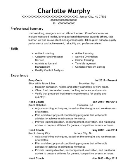 Prep Cook resume template New Jersey