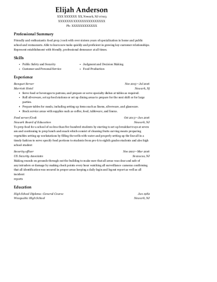 Banquet Server resume format New Jersey