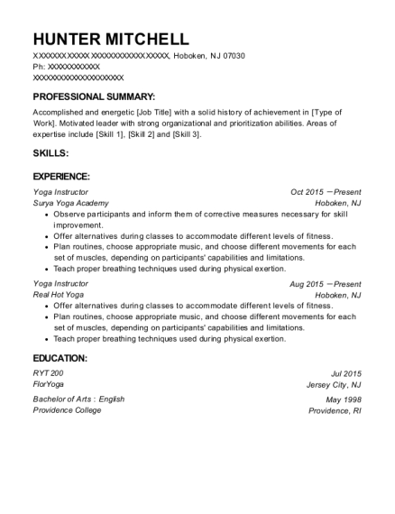 Yoga Instructor resume template New Jersey