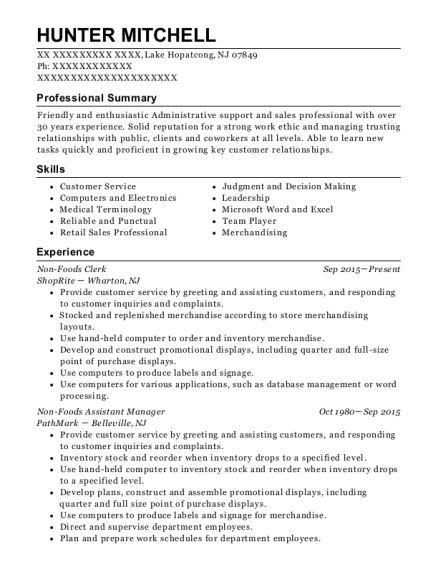 Non Foods Clerk resume template New Jersey