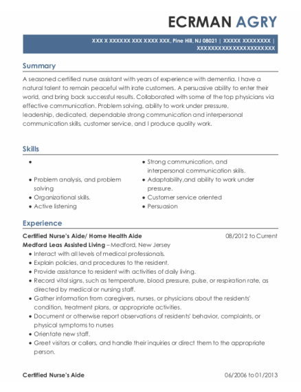Certified Nurses Aide resume template New Jersey