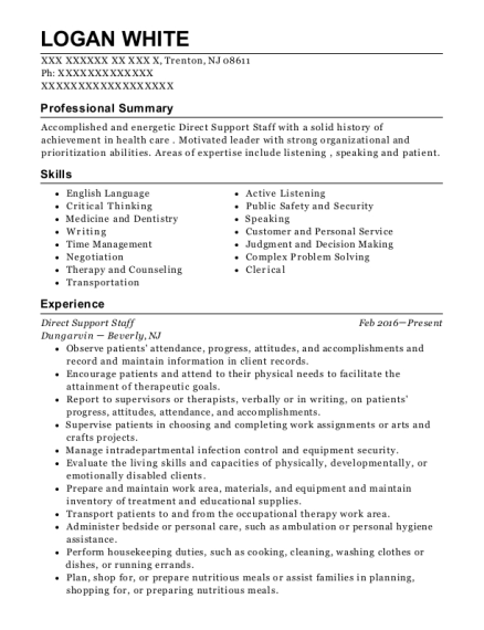 Direct Support Staff resume example New Jersey