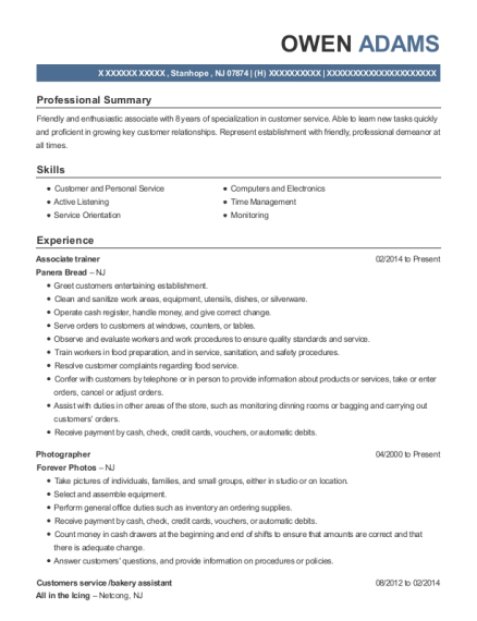 Associate trainer resume example New Jersey
