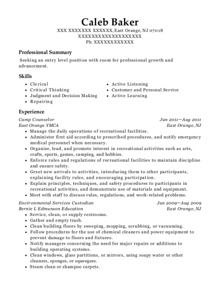 Camp Counselor resume sample New Jersey