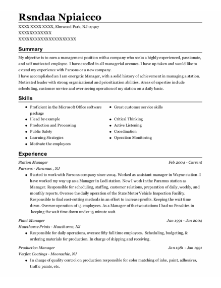 Station Manager resume sample New Jersey