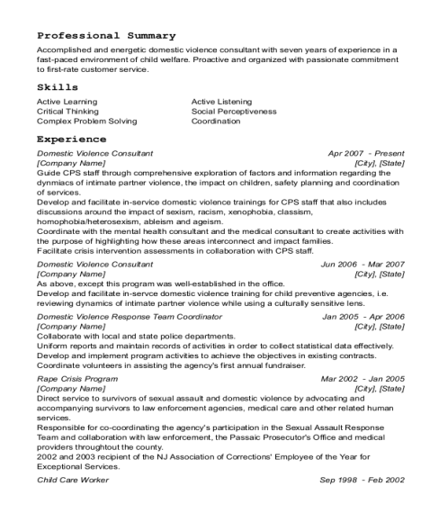 Domestic Violence Consultant resume sample New Jersey