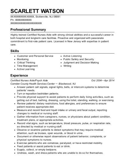 Certified Nurses Aide resume format New Jersey