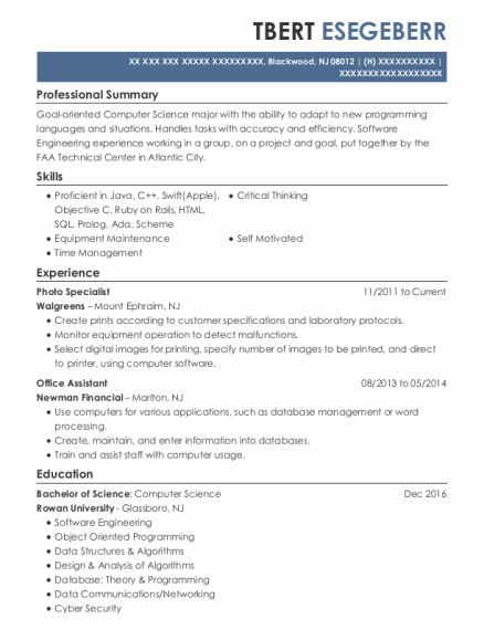 Photo Specialist resume example New Jersey