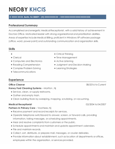 Office Cleaner resume example New Jersey