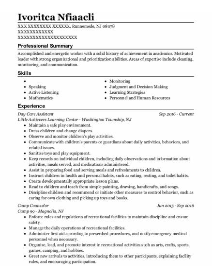 Day Care Assistant resume format New Jersey