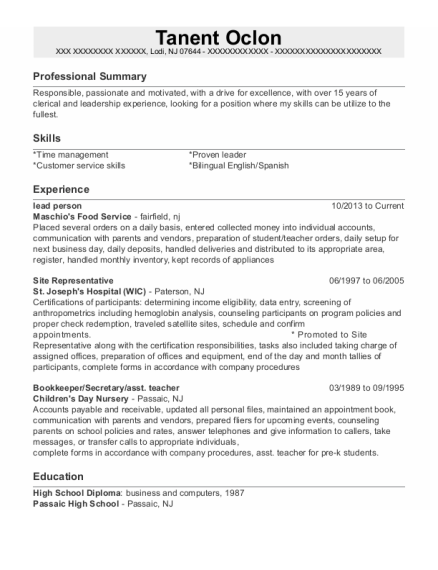 Lead Person resume format New Jersey