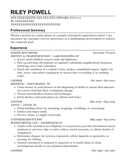 SCHOOL BUS DRIVER resume example New Jersey