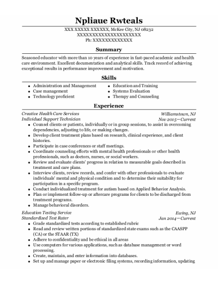 Residential Assistant resume format New Jersey