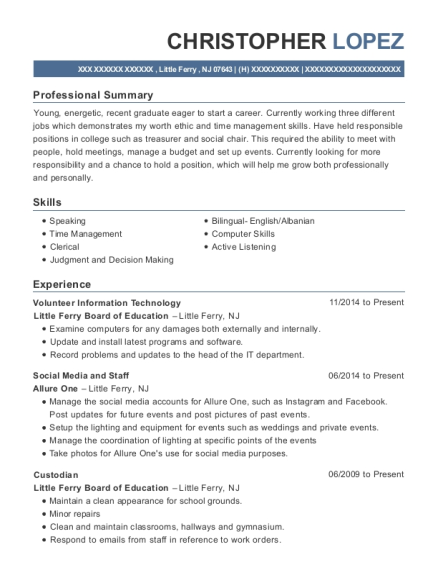 Volunteer Information Technology resume sample New Jersey