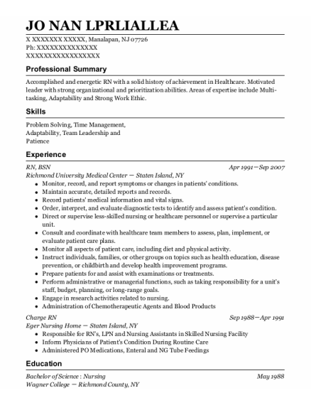 Rn Bsn resume example New Jersey