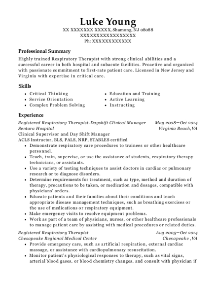Registered Respiratory Therapist Dayshift Clinical Manager resume template New Jersey