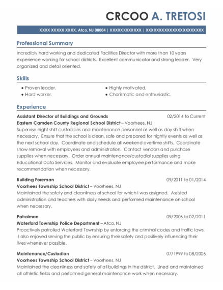 Patrolman resume example New Jersey