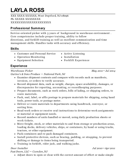 Warehouse Picker resume sample New Jersey