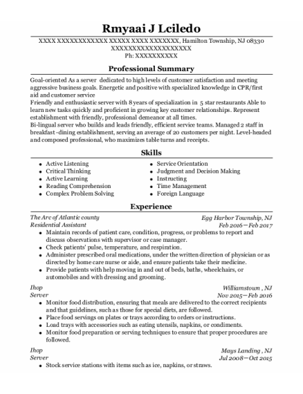 Residential Assistant resume example New Jersey