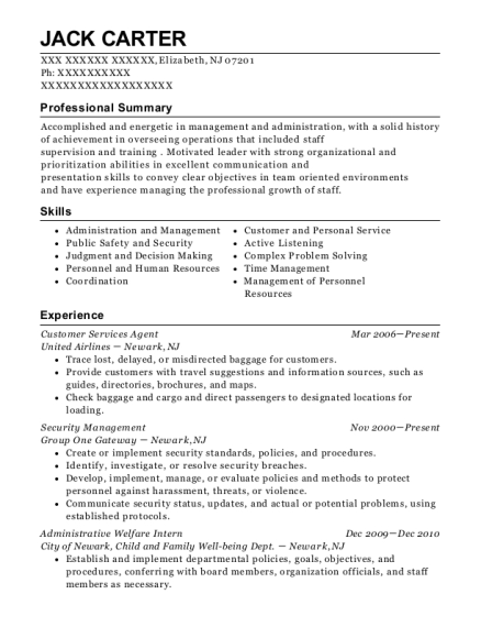 Customer Services Agent resume sample New Jersey