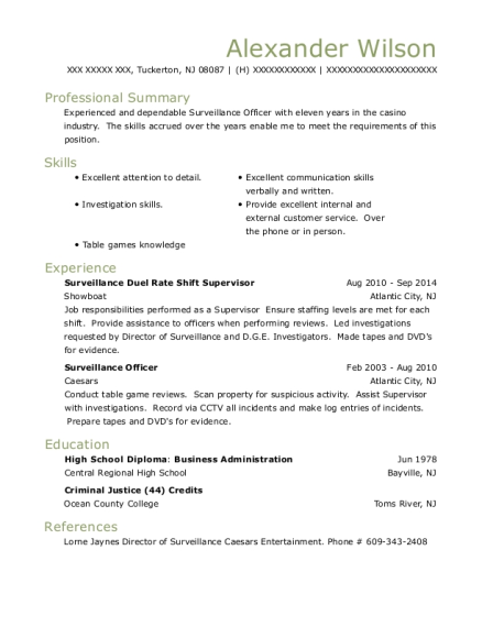 Surveillance Duel Rate Shift Supervisor resume format New Jersey