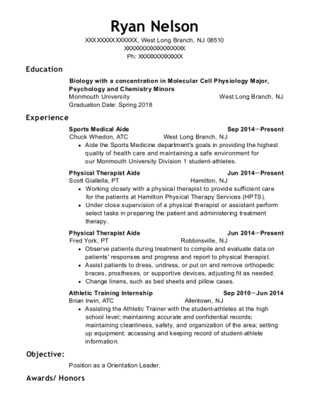 Sports Medical Aide resume example New Jersey