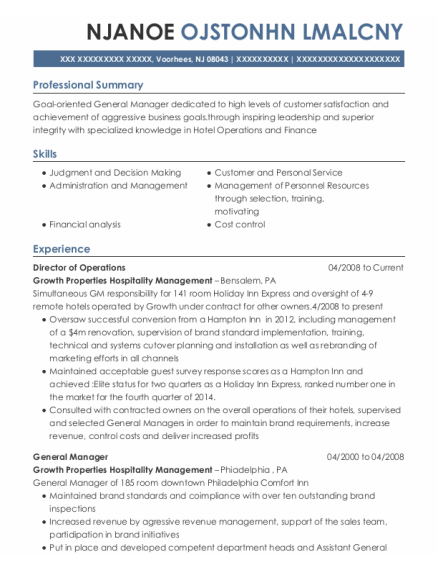 Director of Operations resume sample New Jersey