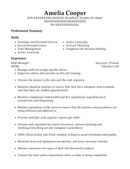 Shift Manager resume format New Jersey
