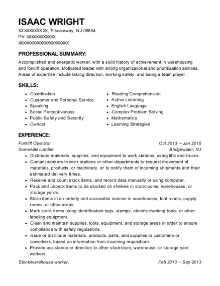 Forklift Operator resume template New Jersey