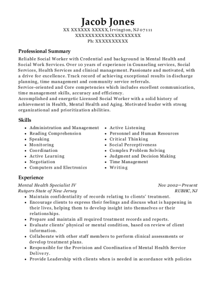 Mental Health Specialist IV resume template New Jersey