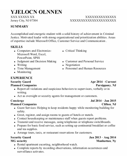 Security Guard resume template New Jersey
