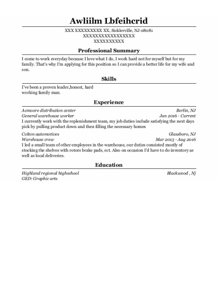 General Warehouse Worker resume format New Jersey