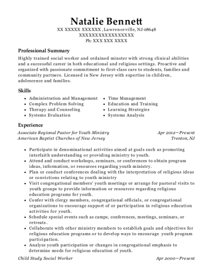 Associate Regional Pastor for Youth Ministry resume format New Jersey