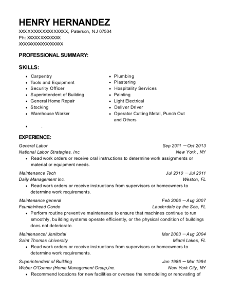 General Labor resume format New Jersey