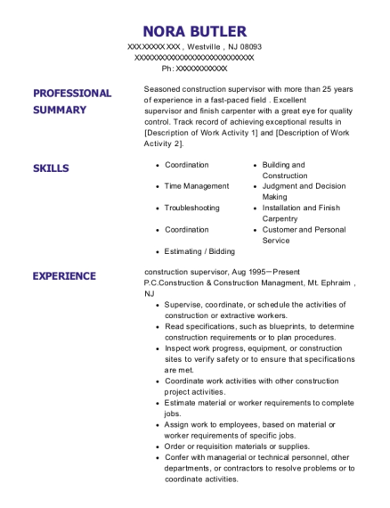 construction supervisor resume template New Jersey