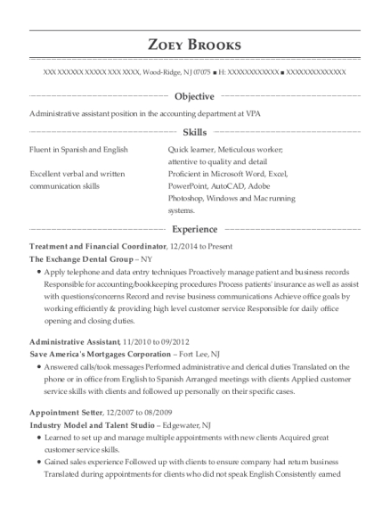 Treatment and Financial Coordinator resume format New Jersey