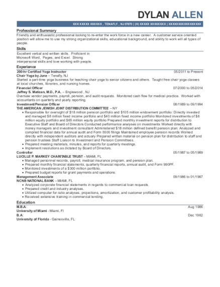 200 hr Certified Yoga Instructor resume format New Jersey