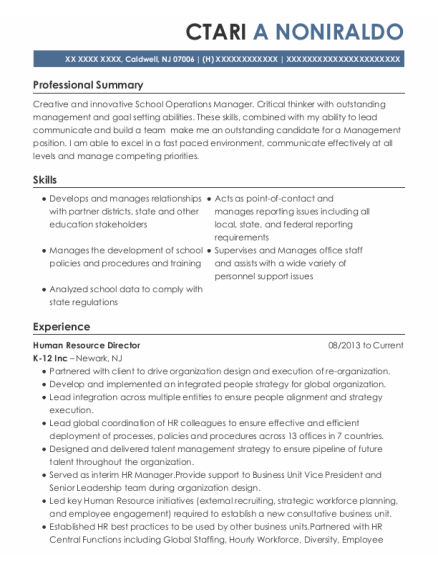 Human Resource Director resume format New Jersey