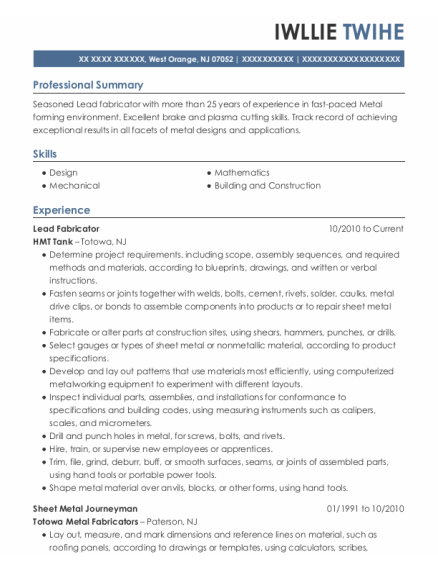 Lead Fabricator resume example New Jersey