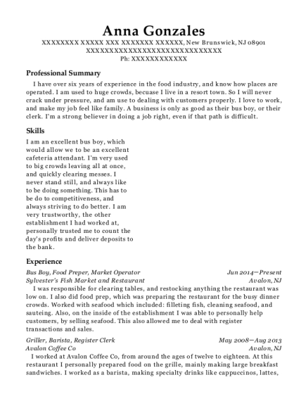 Bus Boy resume template New Jersey
