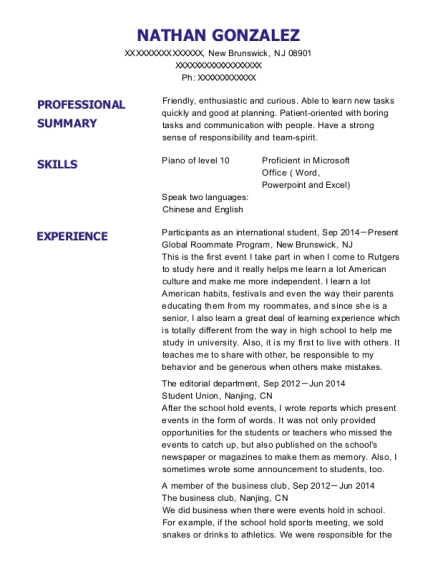 Participants as an international student resume example New Jersey
