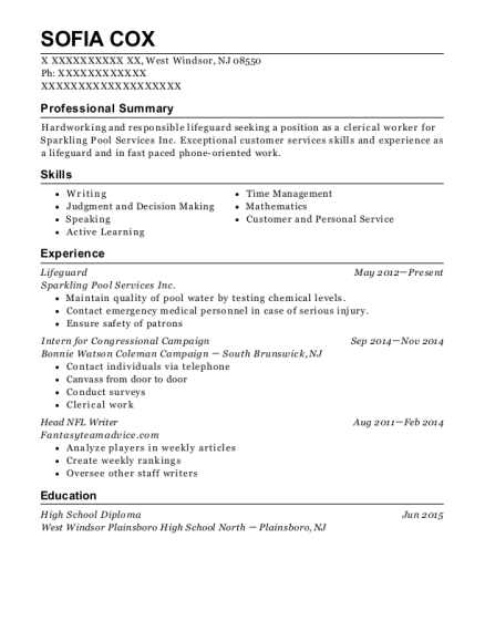 Lifeguard resume template New Jersey
