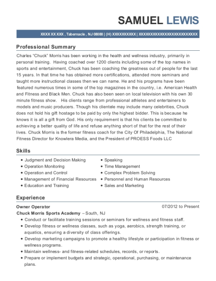 Owner Operator resume sample New Jersey