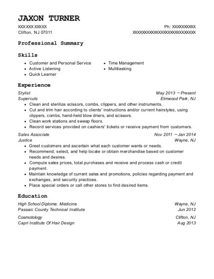 Stylist resume format New Jersey